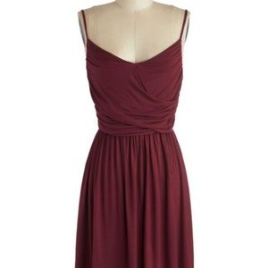 Modcloth Well How Do You Do? Dress in Burgundy